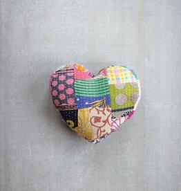 Kalalou Heart Shape Kantha Pillow