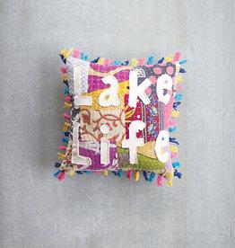 Kalalou Lake Life Kantha Pillow