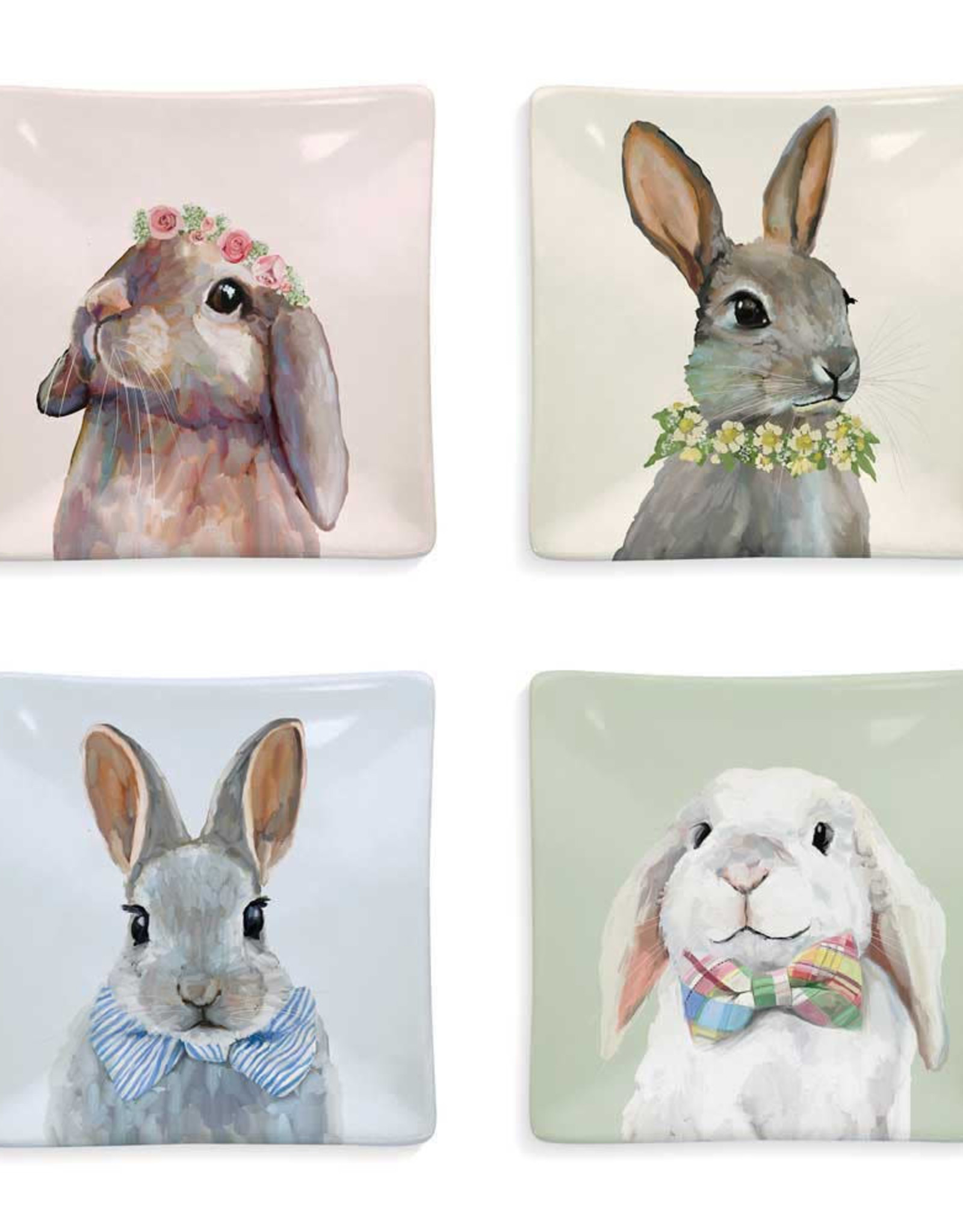 Greenbox Art Bunny Bunch - Set of 4 Assorted Designs Serveware Plates