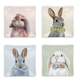 Greenbox Art Bunny Bunch - Set of 4 Assorted Designs Serveware Plates