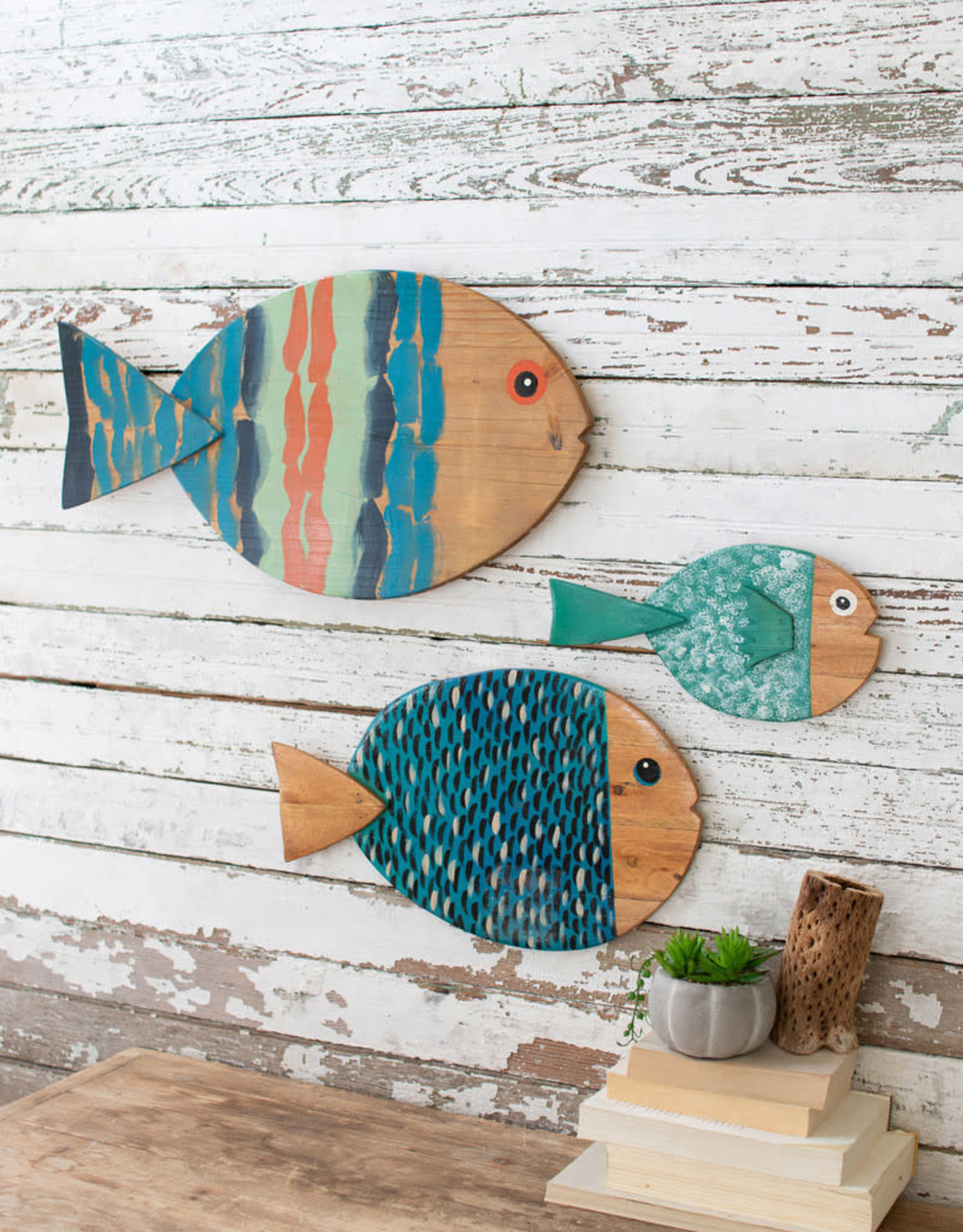 Kalalou Set of 3 Painted Wooden Fish Wall Hangings