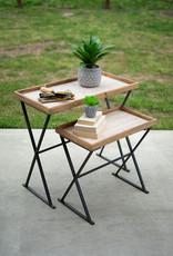 Kalalou Set of 2 Wood and Metal Rectangle Tables