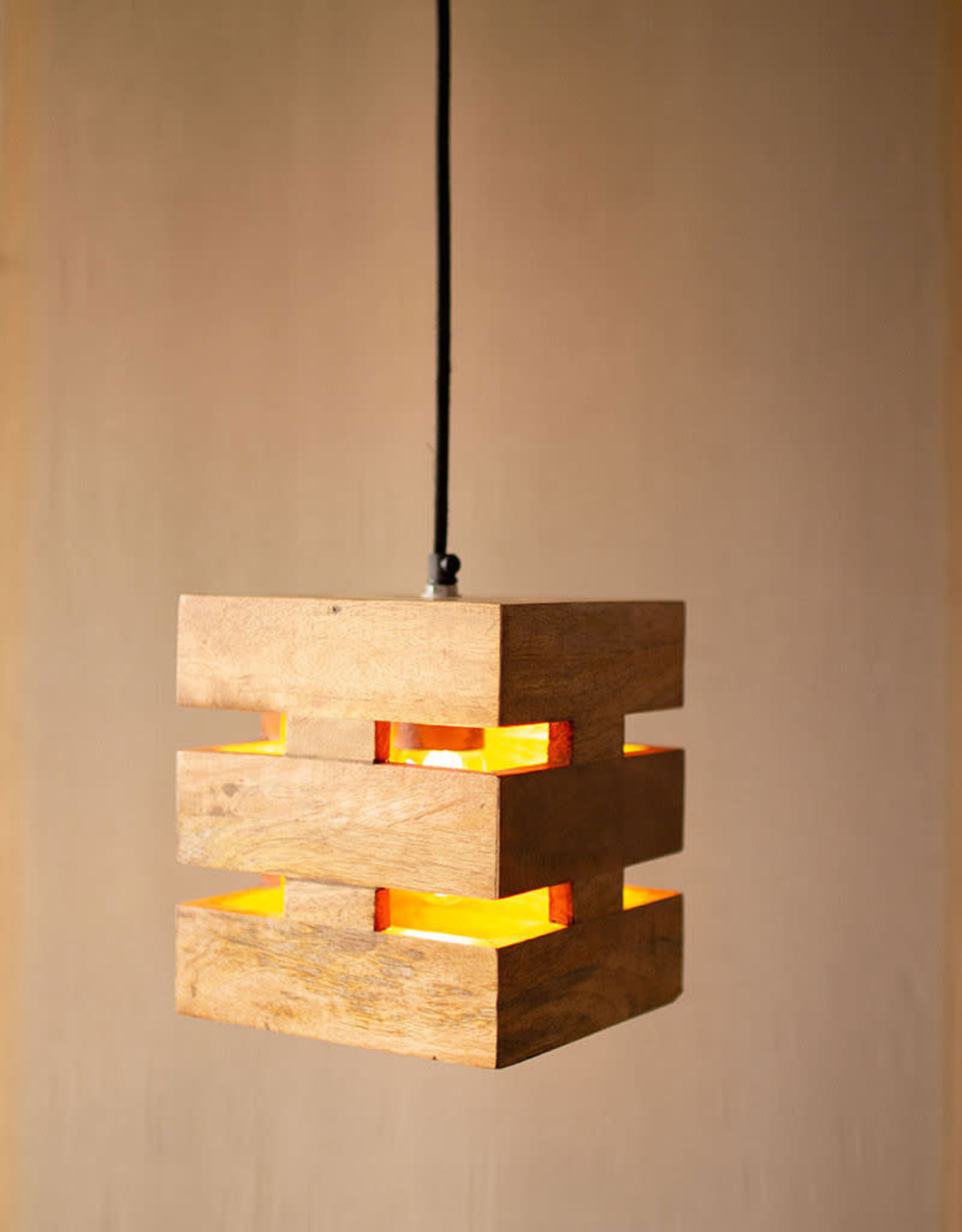 Kalalou Mango Wood Box Pendant Light