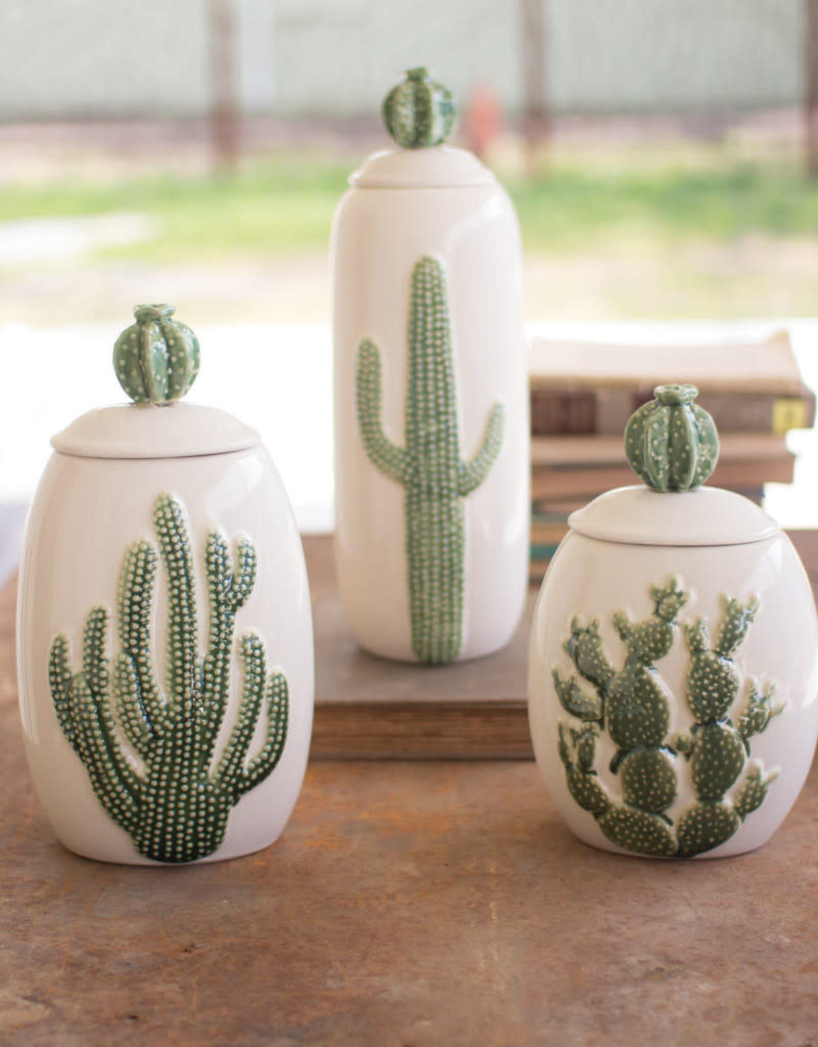 Kalalou Set of 3 Ceramic Cactus Canisters