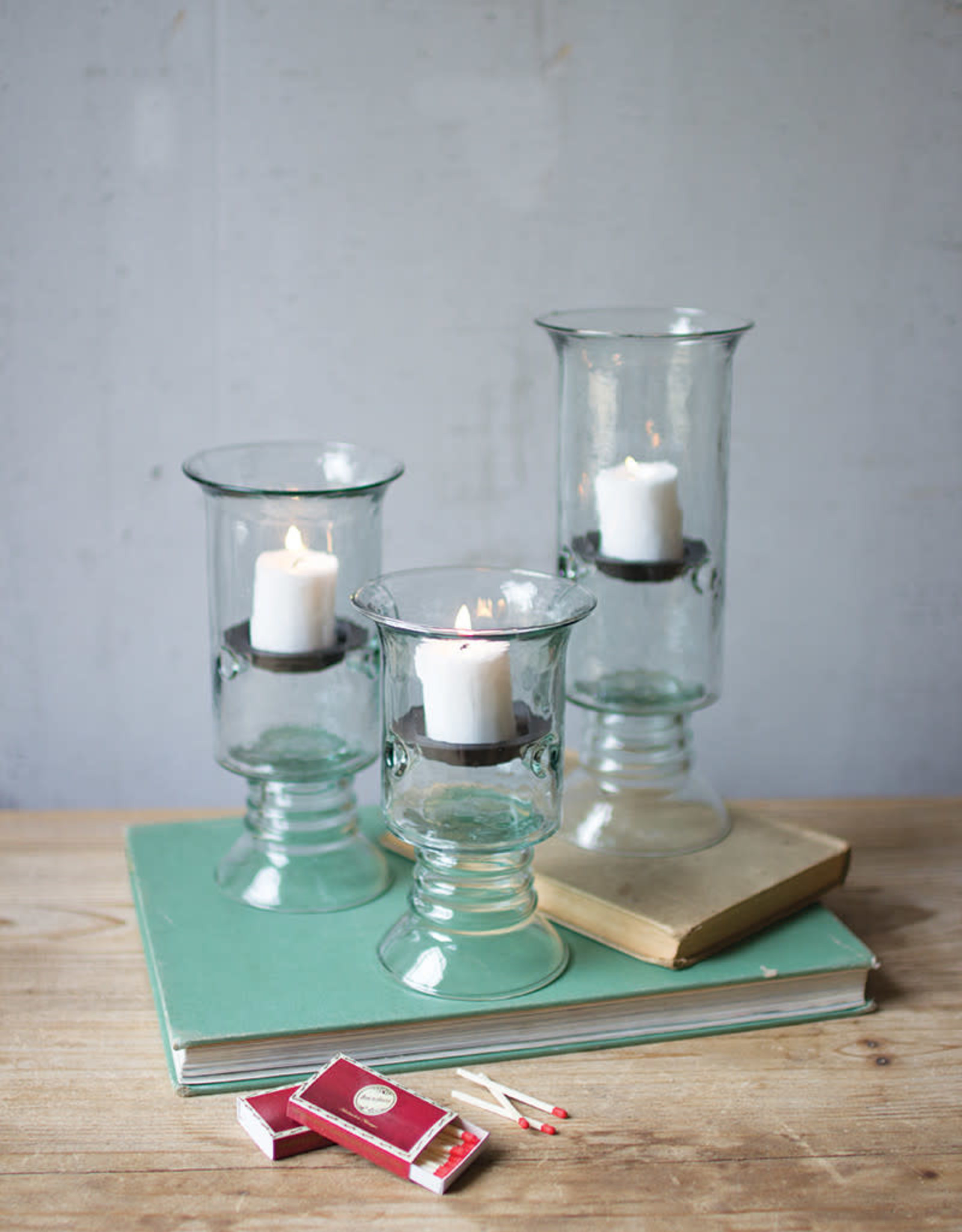 Kalalou Set of 3 Recycled Glass Votive Cylinders