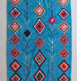 Kalalou Turquoise Rug with Fringe