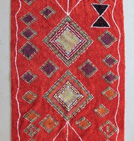Kalalou Red Rug with Fringe