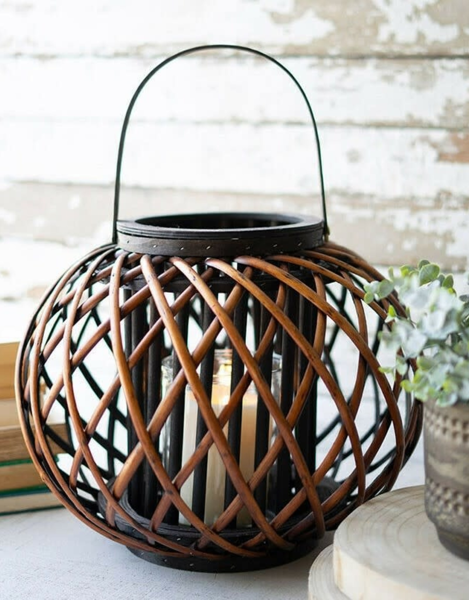 Kalalou Large Brown Willow Lantern with Wooden Handle