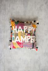Kalalou Happy Camper Kantha Pillow