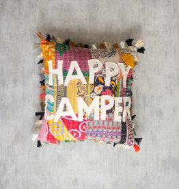 Kalalou Happy Camper Kantha Pillow