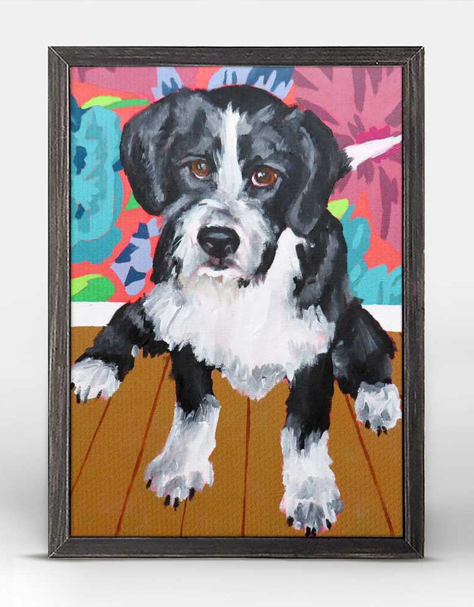Greenbox Art Dog Tales-Boots Rustic Black Mini Framed Canvas 5x7