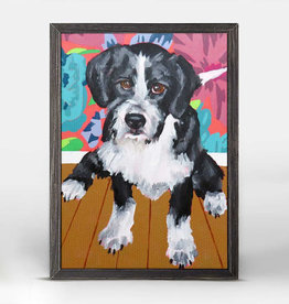 Greenbox Art Dog Tales-Boots Rustic Black Mini Framed Canvas 5x7