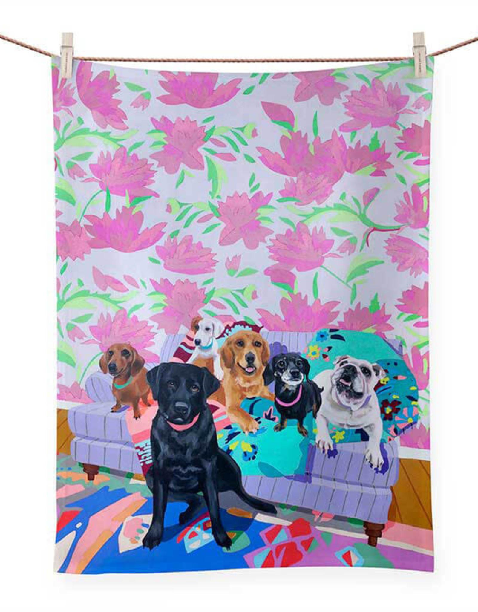 Greenbox Art Dog Tales Tea Towel -21x28