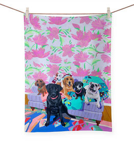Greenbox Art Dog Tales Tea Towel -21x28