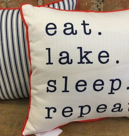 Eat Lake Sleep Repeat-Back Navy Ticking-Piping Red
