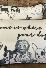Home Is Where Your Dog Is-Black Dog Pattern-Piping Black
