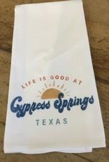Life Is Good At Lake Sunshine Dish Towel-Cypress Springs