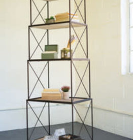 Kalalou Stackable Four Tiered Metal & Wood Shelving Unit