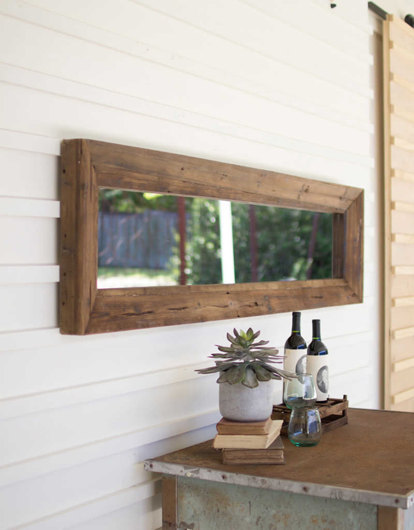 Kalalou Long Rectangle Mirror with Recycled Wood Frame