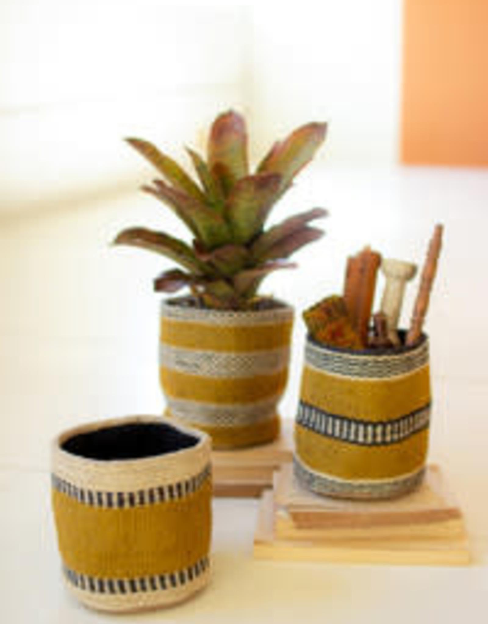 Kalalou Mustard Jute Planters Set of 3