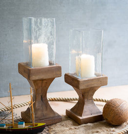 Kalalou Set of 2 Square Hurricanes with Recycled Wood Bases