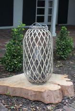 Kalalou Grey Willow Lantern with Glass