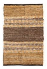 Park Hill Collection Recycled Leather and Denim Throw Rug w/o Fringes
