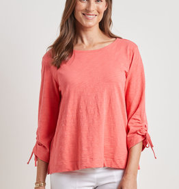 Escape by Habitat Clothes Coastal Cotton Ruched Sleeve Boatneck