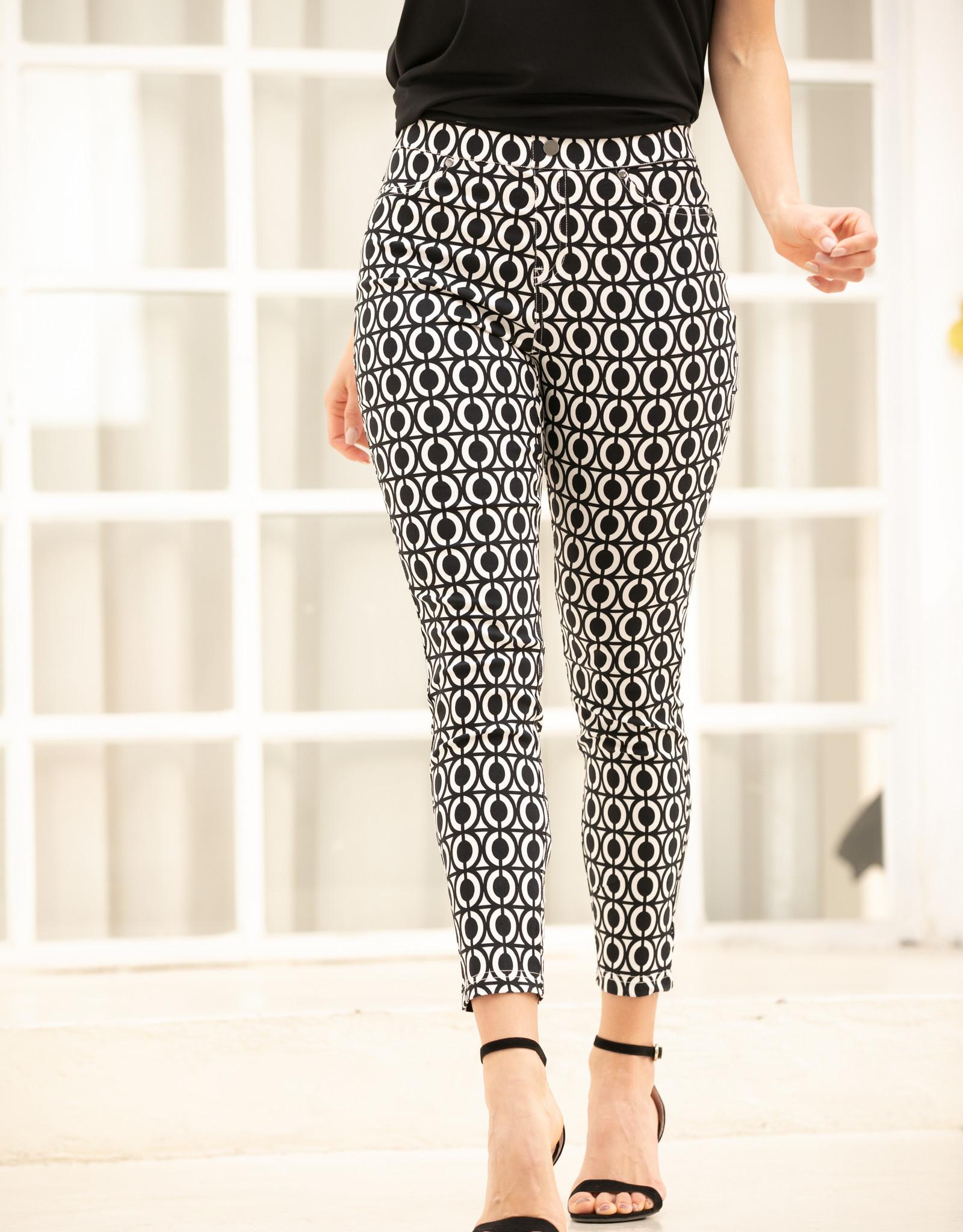 Orange Fashion Village Printed Black & White Pant With Pockets
