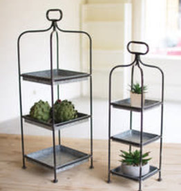 Kalalou Set of Two Metal Display Stands w/Galvanized Trays