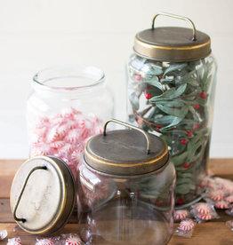 Kalalou Set of 3 Glass Jars with Metal Lids