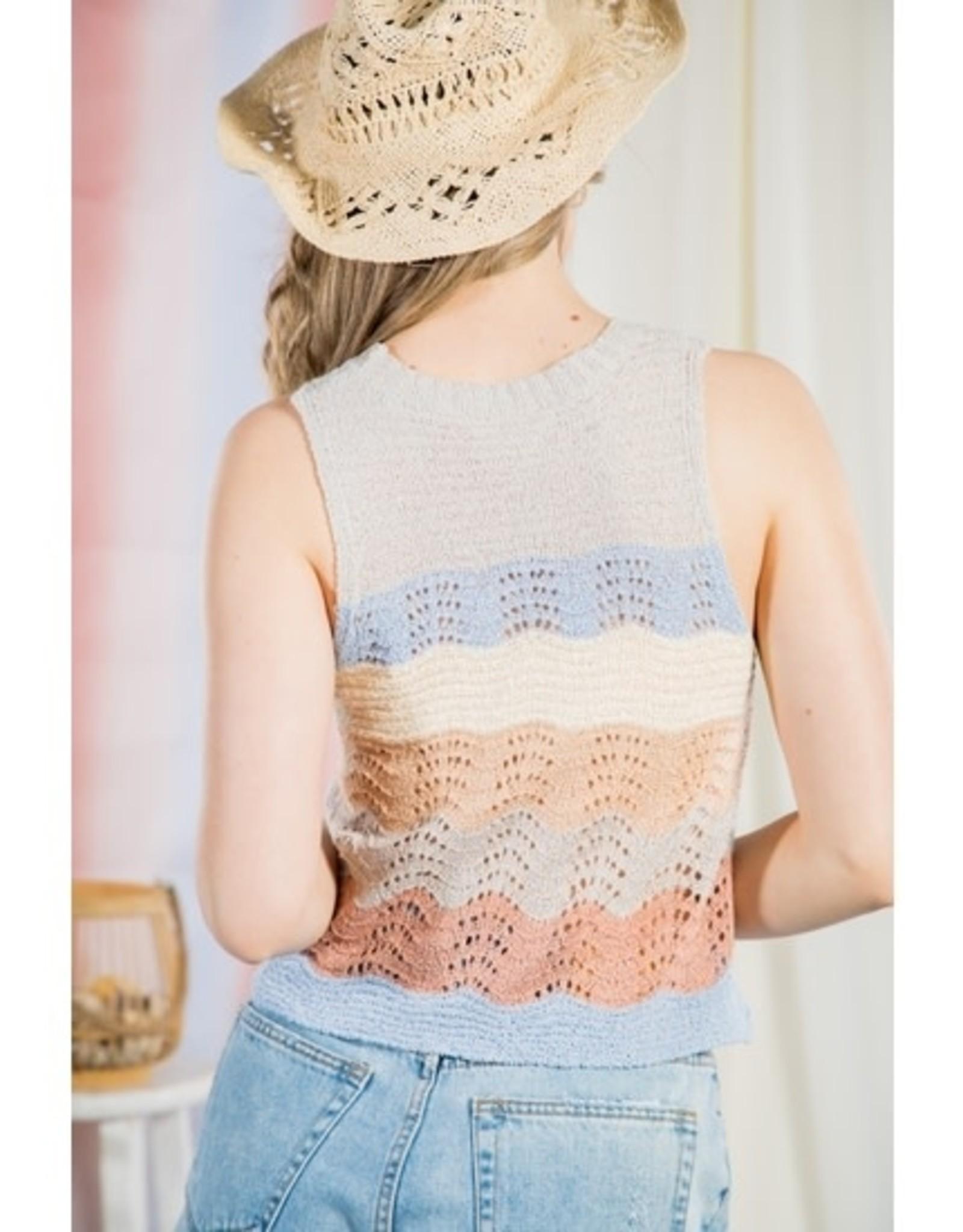 Crochet-knit Tank-crop Top