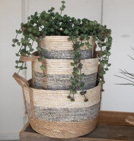 Kalalou Round Rush Baskets \ Grey Set of 3
