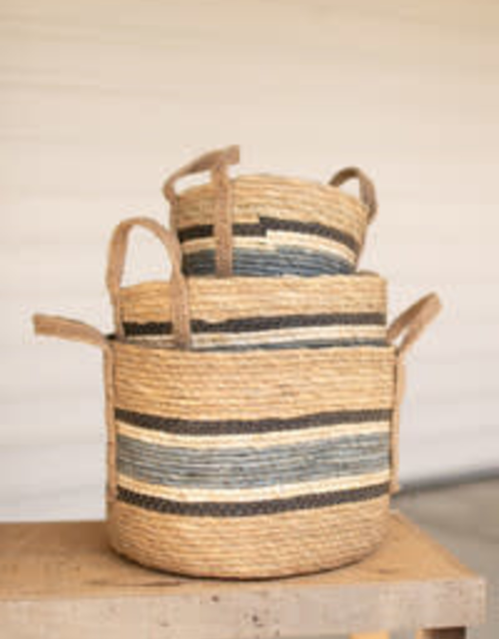 "Kalalou Round Rush Baskets \ Blue Set of 3 (largest 13.5""d x 10""t)"