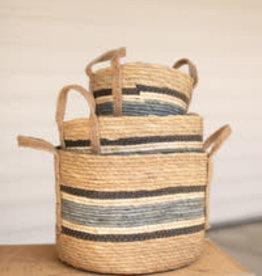 Kalalou Round Rush Baskets \ Blue Set of 3