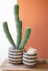 Kalalou Set of 2 Tall Round Black & Natural Seagrass Baskets w/handles