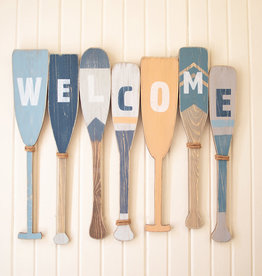 Kalalou Painted Recycled Wood Welcome Boat Paddles