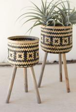 Kalalou Set of  2 Woven Black & Natural Plant Stands Wooden Legs