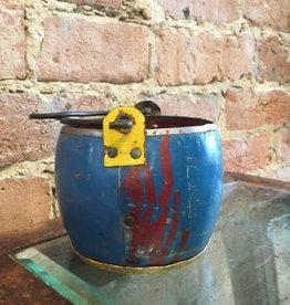 """Kalalou Recycled assorted Color Metal Pot 3.5"""" BLU/RED"""