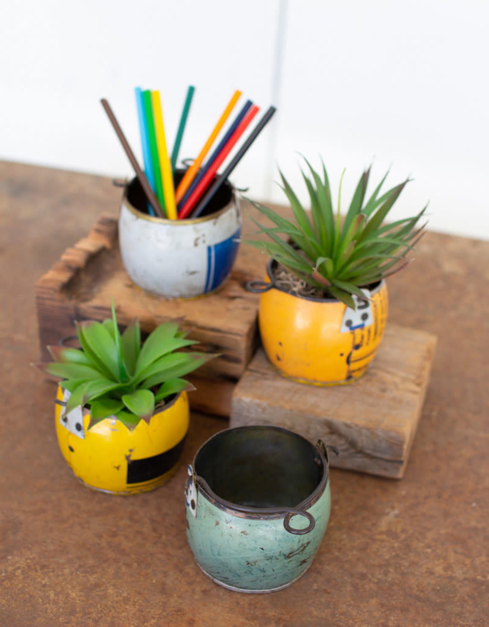 """Kalalou Recycled assorted Color Metal Pot 3.5"""" BL/YL"""