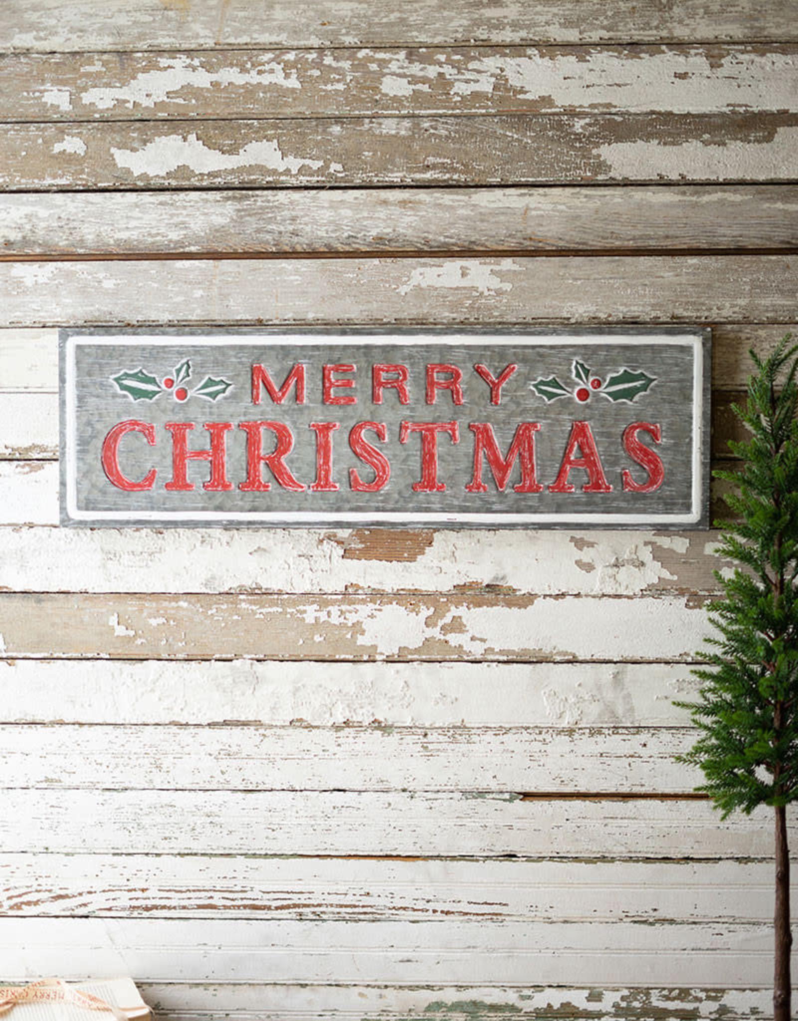 """Kalalou Painted Metal Merry Christmas Sign, 31.5"""" x 9.5""""t"""