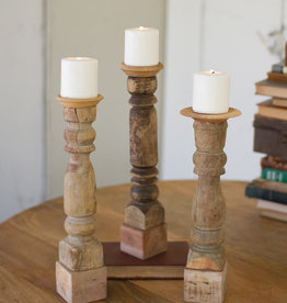 Kalalou Set of 3 Assorted Wooden Reclaimed Banister Candle Stand