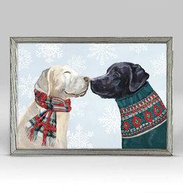 Greenbox Art Holiday - Kissing Pups Embellished Mini Framed Canvas