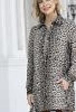 Orange Fashion Village Half Zip Leopard Print Tunic