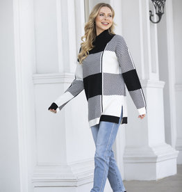 Orange Fashion Village Modern Block Line Sweater