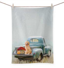 Greenbox Art Fall - Golden Pup In Truck Tea Towel