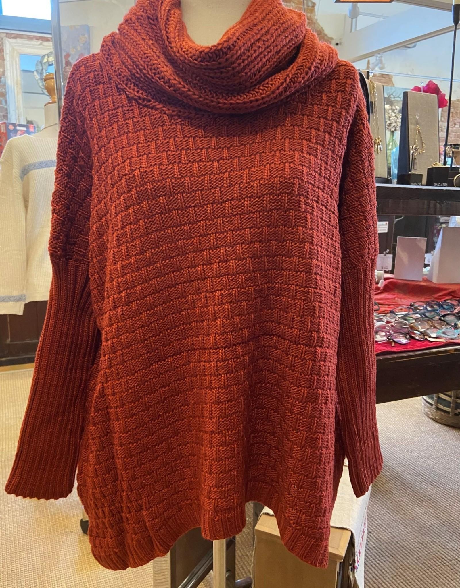 Orange Fashion Village Cowl Neck Basket Knit Sweater