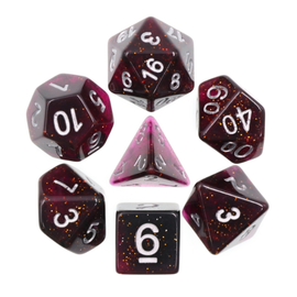 Goblin Dice Purple Glitter Glow Dice Set