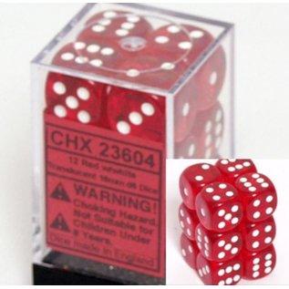 Red Translucent 16mm D6 Block (12)