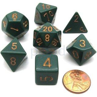 Dusty Green Copper Opaque Dice Set